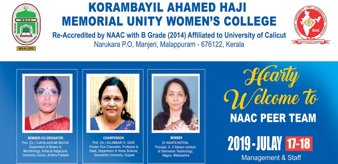 HEARTY WELCOME TO NAAC PEER TEAM